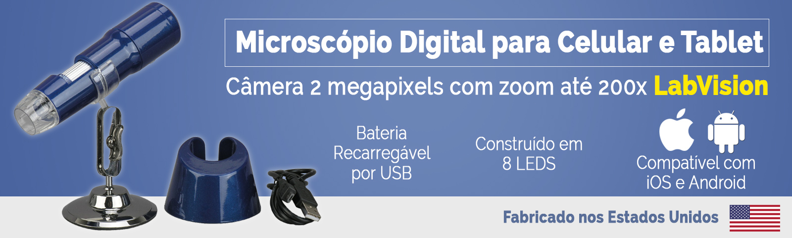 Microscópio Portatil Digital para Tablet e Celular